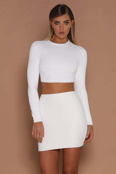 Mila Long Sleeve Crop Top - White - MESHKI