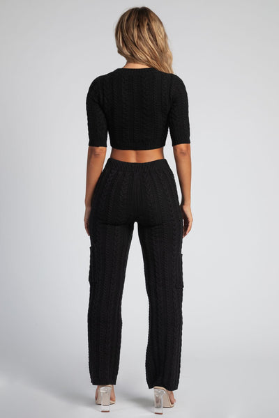 Myra Cable Knit Wide Leg Pants - Black - MESHKI