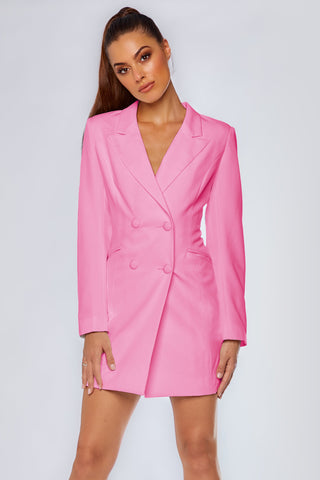 Heather Wide Collar Blazer Dress - Sugar Pink - MESHKI