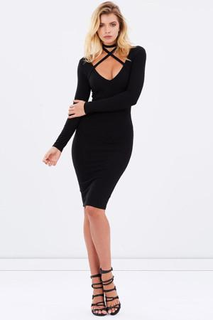 Xena Long Sleeve Cross Strap Dress - Black