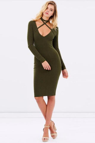 Xena Long Sleeve Cross Strap Dress - Khaki