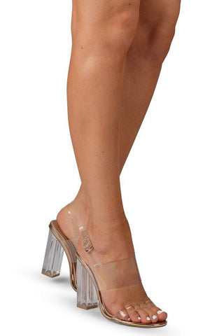 Clear Block Heel - Rose Gold - MESHKI