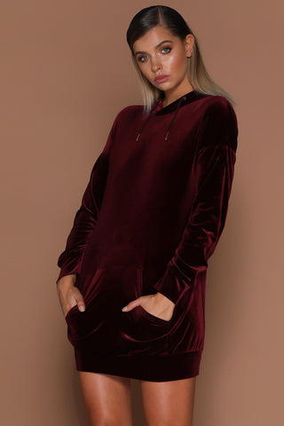 Karina Velvet Oversized Hoodie Mini Dress - Burgundy [PRE-ORDER] - MESHKI