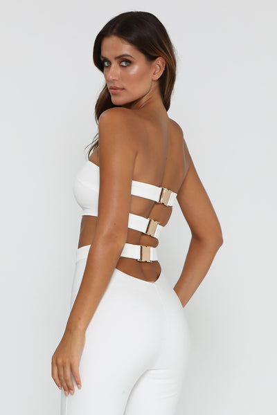 Diya Strapless Crop Top - White - MESHKI