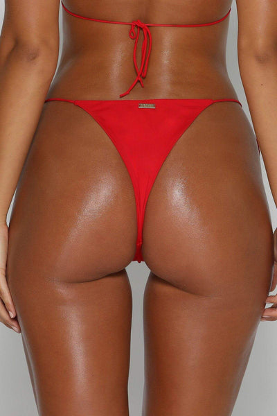 Amalia Tie Up Bikini Bottoms - Red - MESHKI