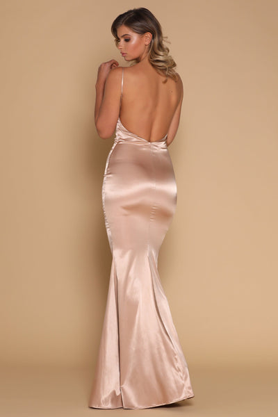 Luna Satin Maxi Dress - Nude