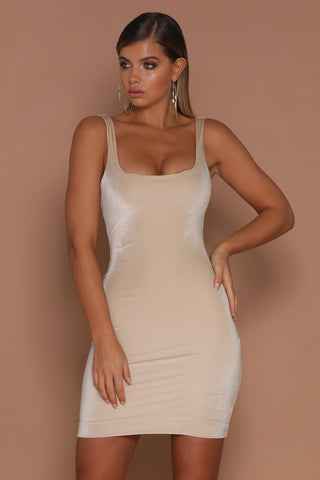 Aylina Velvet Bodycon Mini Dress - Nude - MESHKI