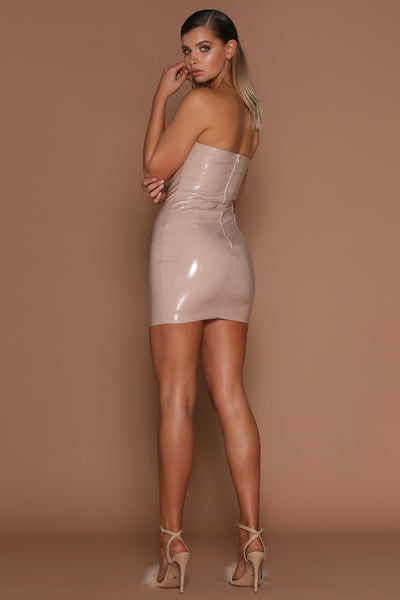 Saskia Strapless Latex Mini Dress - Nude - MESHKI