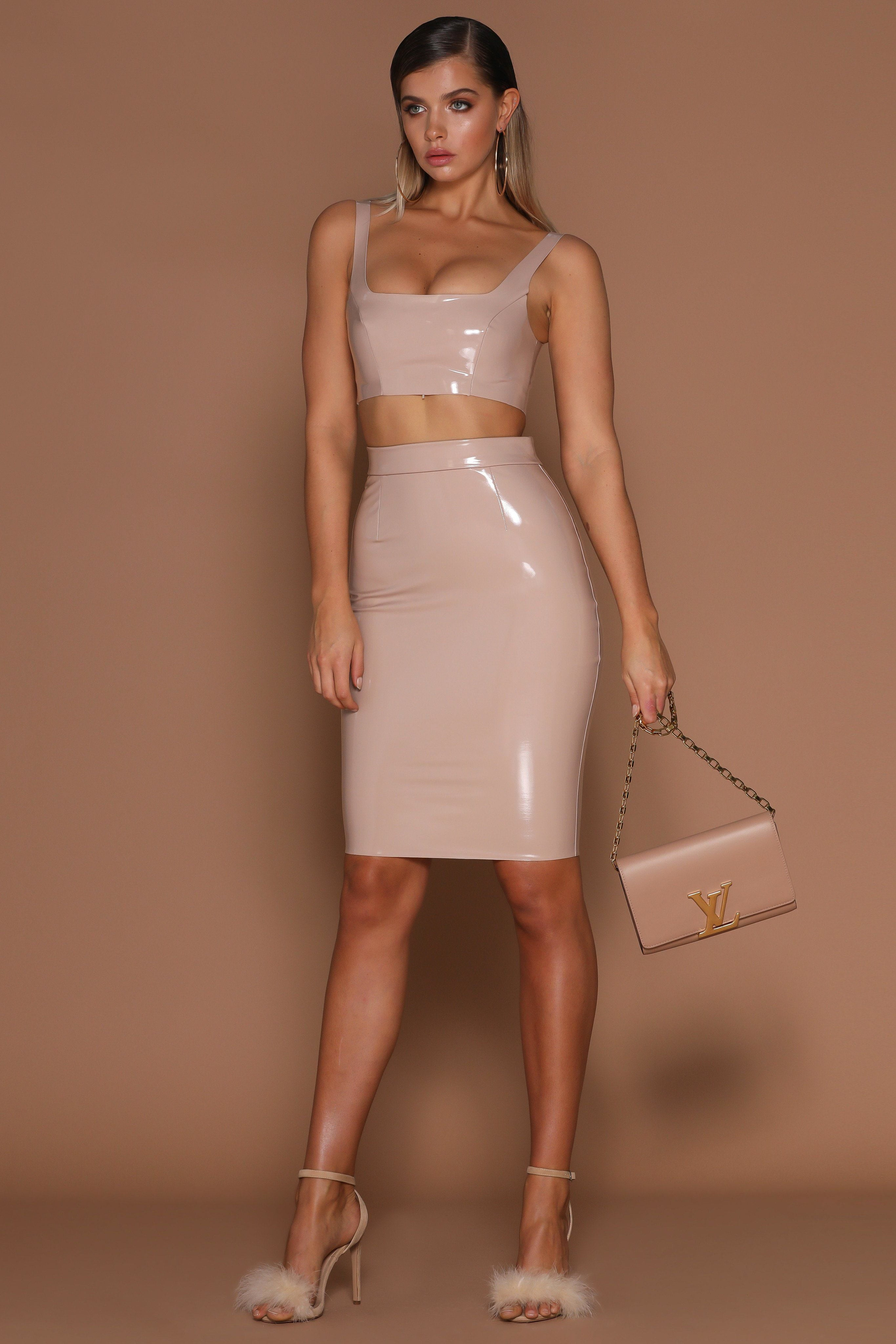 5d98e6363b Harper Latex Pencil Midi Skirt - Nude - MESHKI
