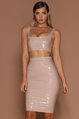 Harper Latex Pencil Midi Skirt - Nude [PRE-ORDER] - MESHKI
