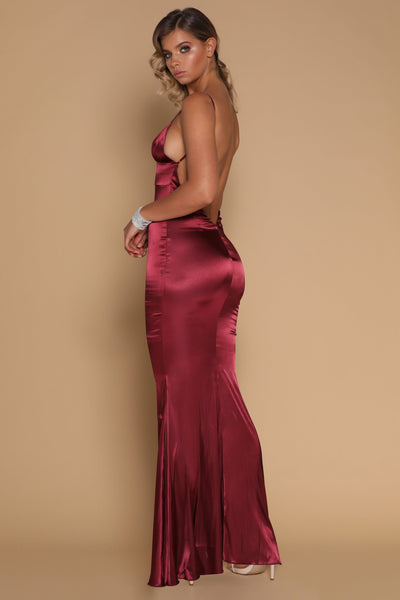 Luna Satin Maxi Dress - Burgundy - MESHKI