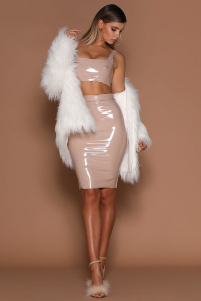 Harper Latex Pencil Midi Skirt - Nude - MESHKI