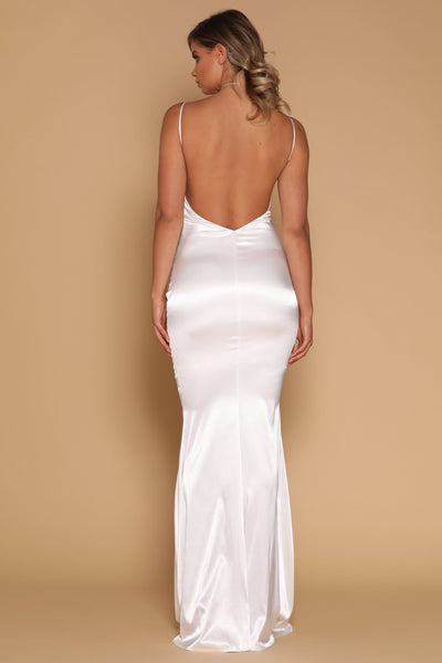 Luna Satin Maxi Dress - White - MESHKI