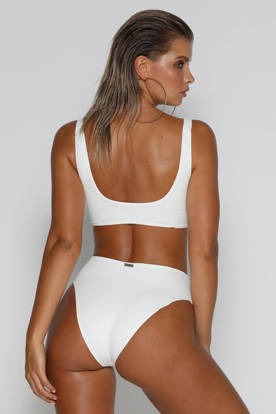 Massika Zipper Bikini Bottoms - White - MESHKI