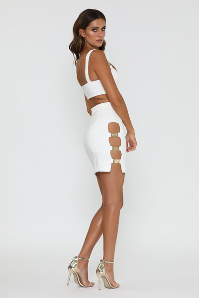 Azalea Gold Buckle Mini Skirt - White - MESHKI