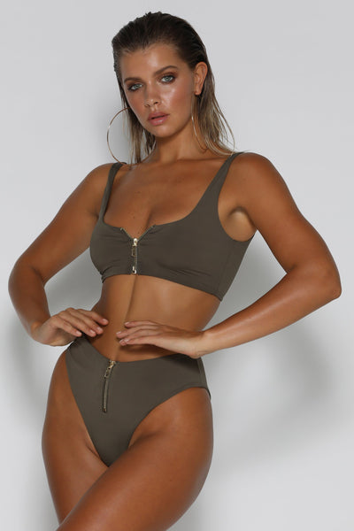 Massika Zipper Bikini Bottoms - Khaki - MESHKI
