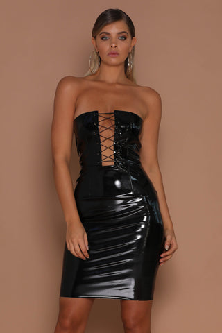 Elektra Lace-up Latex Strapless Dress - Black - MESHKI