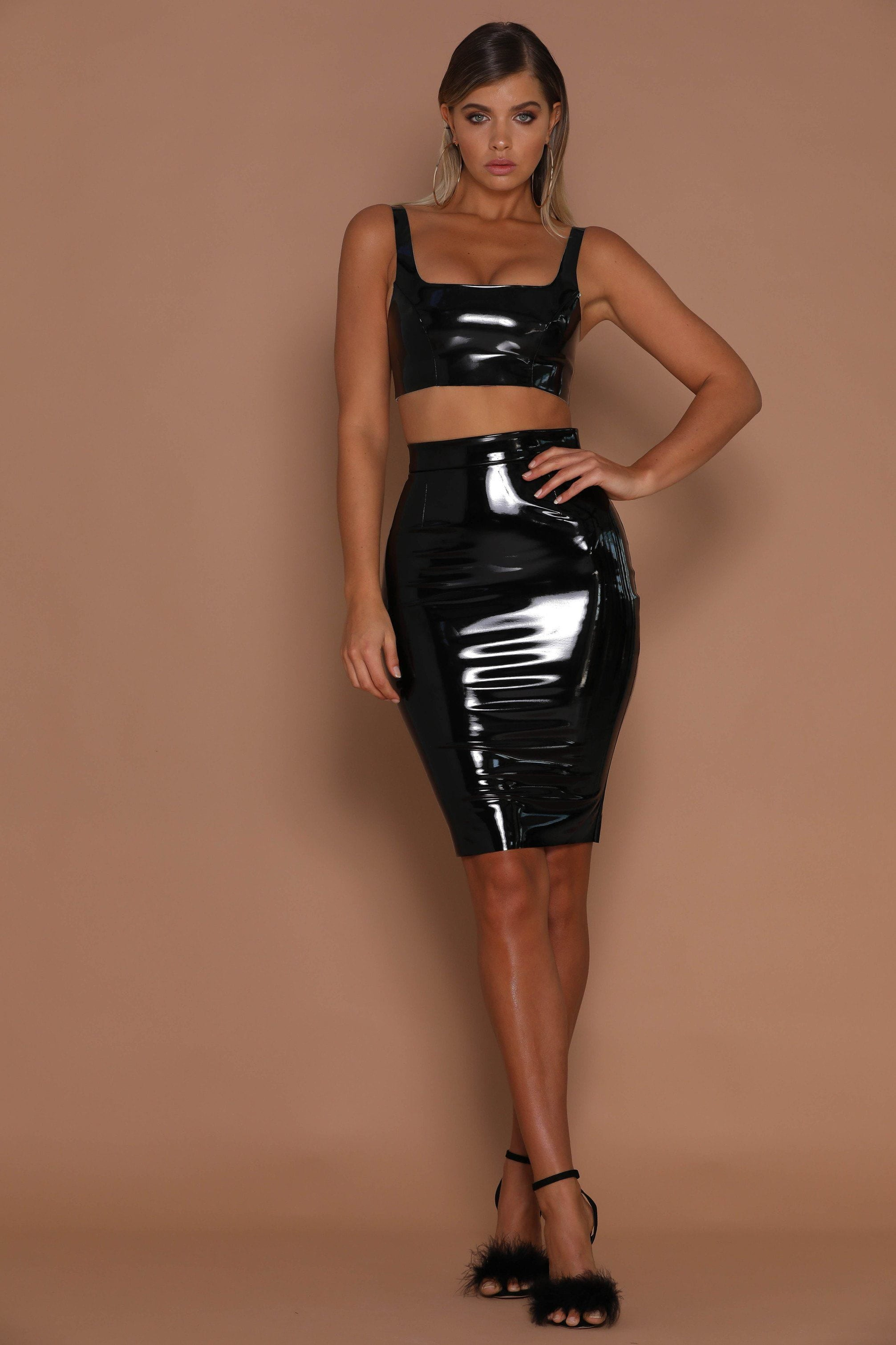 6be4770334 Harper Latex Pencil Midi Skirt - Black - MESHKI