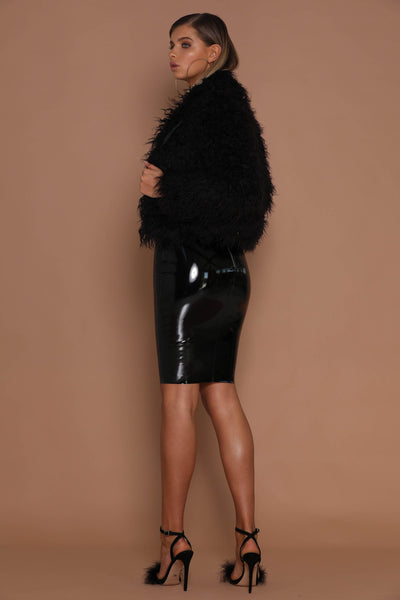 Kimia Faux Fur Cropped Coat - Black - MESHKI