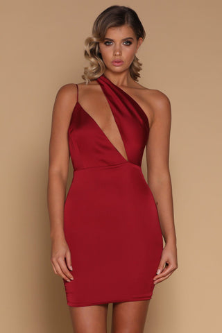 Aleena Asymmetrical Strap Satin Mini Dress - Burgundy - MESHKI