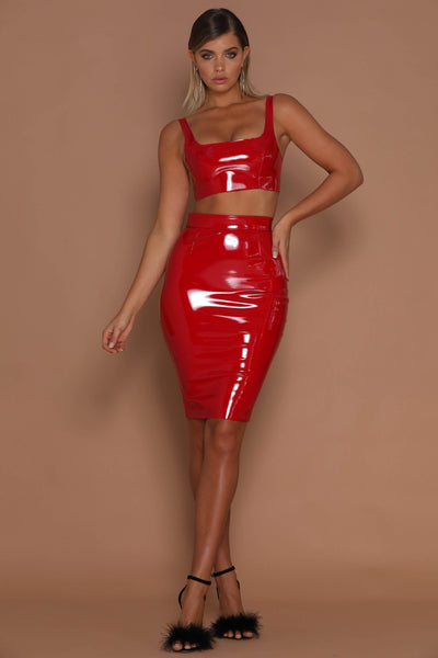 Everly Latex Crop Top - Red - MESHKI