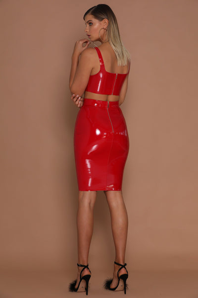 Harper Latex Pencil Midi Skirt - Red - MESHKI