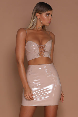 Skye Latex Mini Skirt - Nude - MESHKI