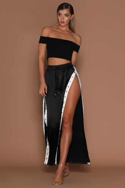 Taya Luxe Popper Pants - Black/White - MESHKI