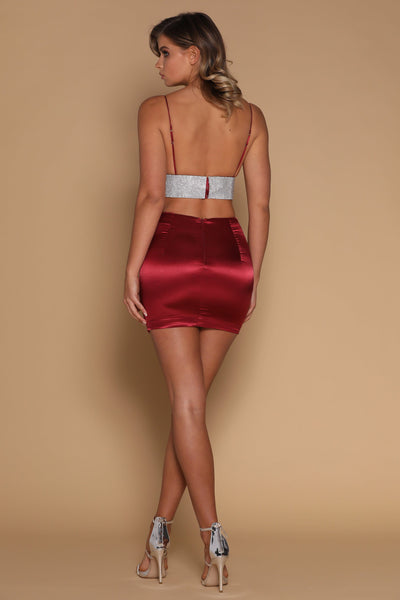 Verena Satin Mini Skirt - Burgundy - MESHKI