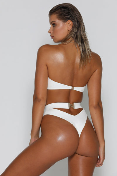 Carliana High Waist Bikini Bottom - White - MESHKI
