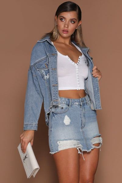 Kaylee Distressed Denim Jacket - Mid-Wash Blue - MESHKI