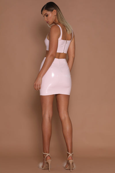 Everly Latex Crop Top - Blush - MESHKI