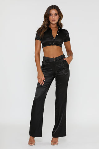 Nia Satin Pants - Black - MESHKI