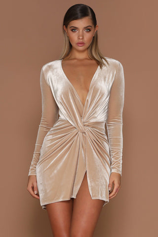 Kiara Wrapped Velvet Mini Dress - Nude [PRE-ORDER] - MESHKI