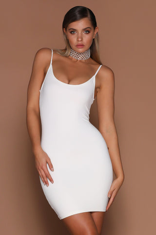 Tasha Bodycon Mini Dress - White - MESHKI