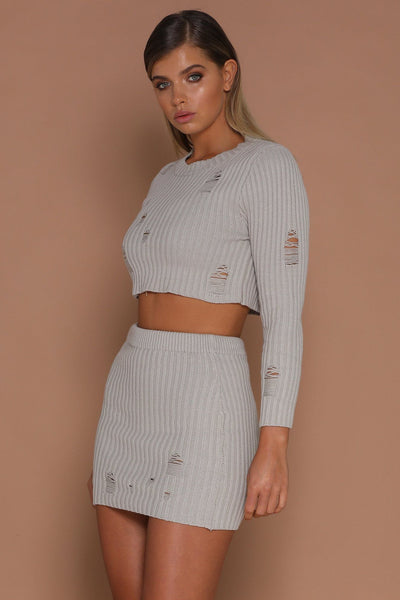 Lena Distressed Ribbed Knit Set - Grey - MESHKI