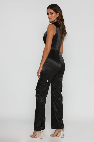 Jada Satin Jumpsuit - Black - MESHKI