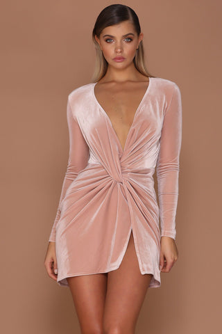 Kiara Wrapped Velvet Mini Dress - Blush [PRE-ORDER] - MESHKI