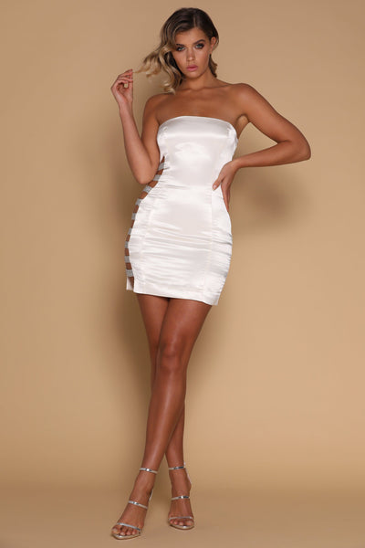 Alessia Diamante Panel Mini Dress - Ivory - MESHKI