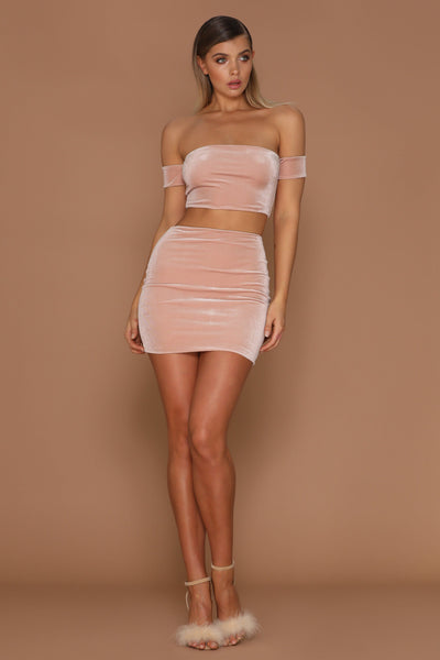 Macia Velvet Mini Skirt - Blush - MESHKI