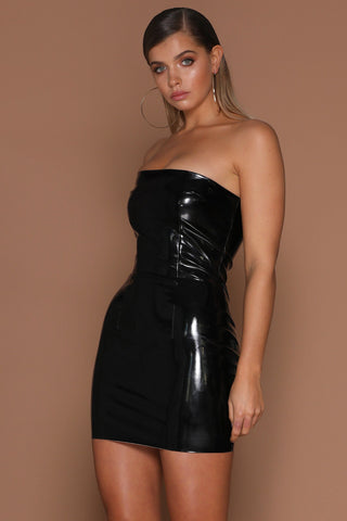 Saskia Strapless Latex Dress - Black [PRE-ORDER] - MESHKI