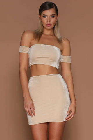 Heidi Off Shoulder Crop Top - Nude - MESHKI