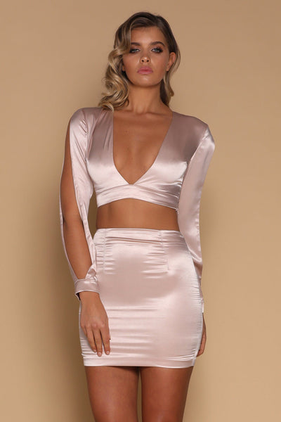 Verena Satin Mini Skirt - Blush - MESHKI