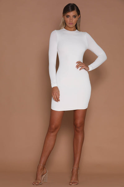 Kylie Long Sleeve Dress - White - MESHKI