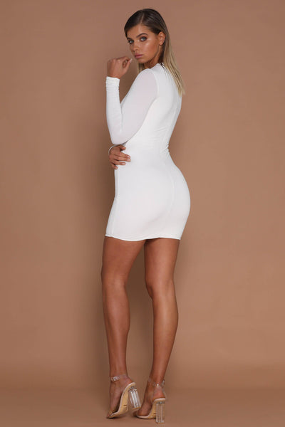 Kylie Long Sleeve Mini Dress - White - MESHKI