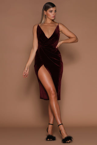 Sasha Velvet Wrap Dress - Burgundy - MESHKI