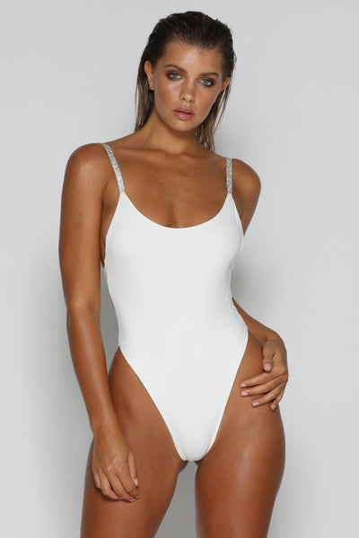 Gia Diamante Strap One Piece - White - MESHKI