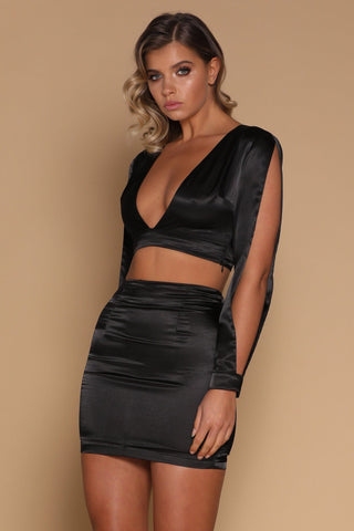Verena Satin Mini Skirt - Black - MESHKI
