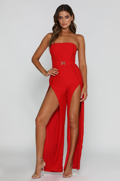 Livia Strapless Jumpsuit - Red - MESHKI