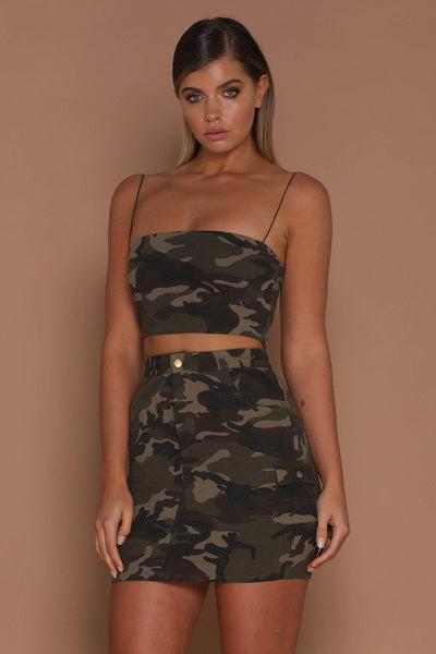Veronica Camo Mini Skirt - Khaki - MESHKI